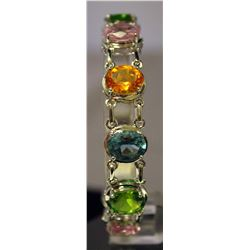 Beautiful Sterling Silver Multi Lab Gems Bracelet. (114B)
