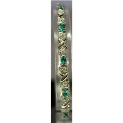 Fancy Sterling Silver Lab Emerald & White Topaz Bracelet. (119B)