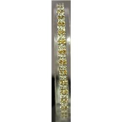 Fancy Sterling Silver Lab Golden & White Sapphire Bracelet. (122B)
