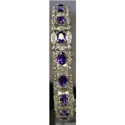 Beautiful Sterling Silver Lab Tanzanite & White Topaz Bracelet. (126B)