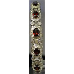 Very Fancy Sterling Silver Lab White Sapphire & Ruby Bracelet. (131B)