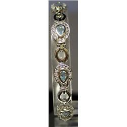 Very Fancy Sterling Silver Lab Topaz & White Sapphire Bracelet. (144B)