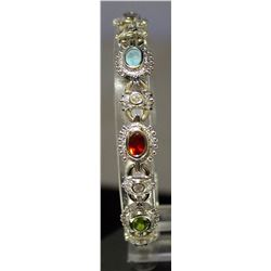 Beautiful Sterling Silver Lab Multi Gems Bracelet. (151B)