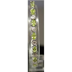Very Fancy Sterling Silver Lab White Sapphire & Peridot Bracelet. (158B)