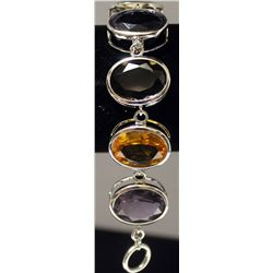 Beautiful Sterling Silver Lab Amethyst, Tanzanite, Smokey Quartz & Citrine Bracelet. (159B)