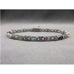Multi-Gemstone & Diamond Tennis Bracelet