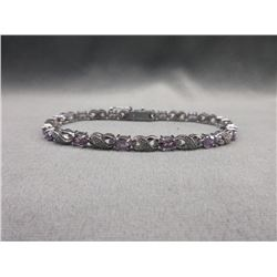Purple Amethyst & Diamond Tennis Bracelet