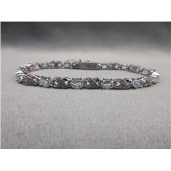 6 CT Blue Topaz & Diamond Tennis Bracelet