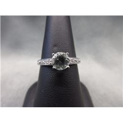 Green Amethyst & Diamond Solitaire Ring