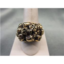 Solid Bronze Multi-Skull Biker Ring