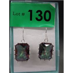 New 65 CT Emerald Cut Mystic Topaz Earrings