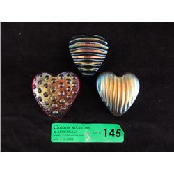 3 Robert Held Art Glass Hearts