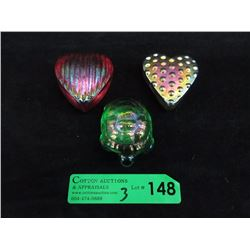 Robert Held Art Glass Turtle & Two Hearts