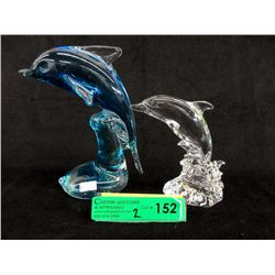 Art Glass & Crystal Leaping Dolphins