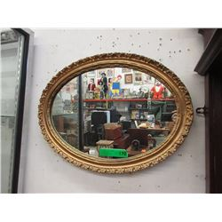 Oval Wall Mirror with Gold Gilt Frame