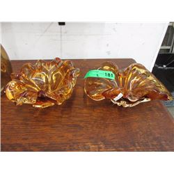 2 Mid Century Amber Glass Bowls