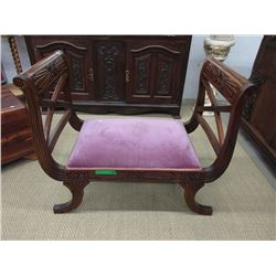 Wood Bench with Velveteen Seat