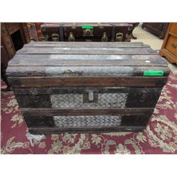 Victorian Dome Top Slat Shipping Trunk ca 1890
