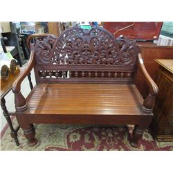 Hand Carved South African Teak Settee