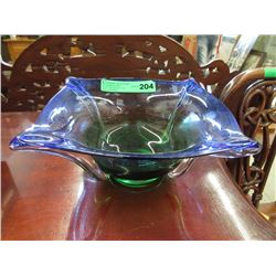 Green to Blue Art Glass Bowl