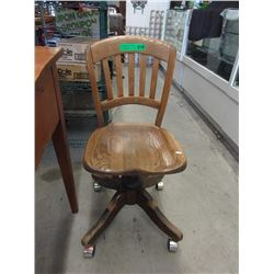 Vintage Oak Office Chair on Casters