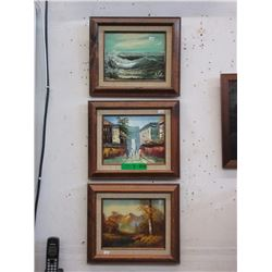 3 Vintage Oil on Canvas Paintings