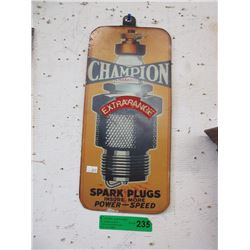 Metal Champion Spark Plug Sign