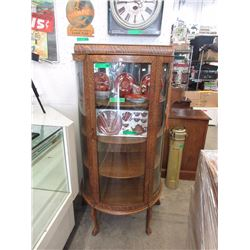 Victorian Oak Curved Glass Claw Foot Cabinet