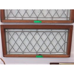 Vintage Wood Framed Leaded Glass Window