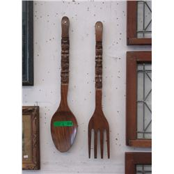 Pair of Vintage Oversize Wood Fork & Spoon