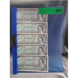 4 CDA 1967 Centennial & 1 CDA 1954 Dollar Bills