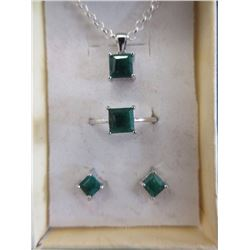 New Certified 3 piece Emerald Set
