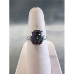 Mystic Topaz & Diamond Solitaire Ring