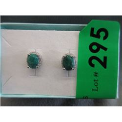New 4 Carat Emerald & Diamond Earrings