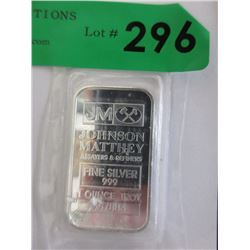 1 Oz. Johnson Matthey .999 Silver Bar