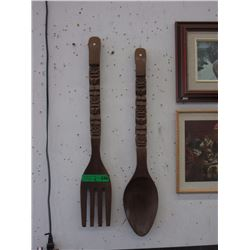 Vintage Oversized Wood Fork & Spoon