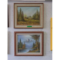 Pair of Vintage Paintings on Canvas
