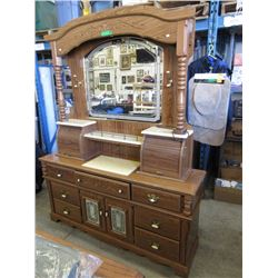 Mirror Back Wood Dresser