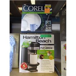 Hamilton Beach Flex Brew & Corelle Dishes