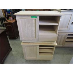 2 Unfinished Small Wood Cabinets