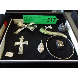 Sterling Silver Pendants, Birks Brooch and More