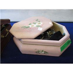 Large Wood Keepsake  Box and Contents