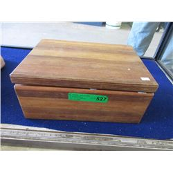 Large Solid Wood Jewelry Box & Contents