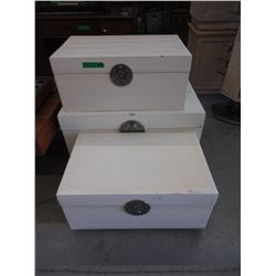 3 Storage Trunks with Metal Hasps