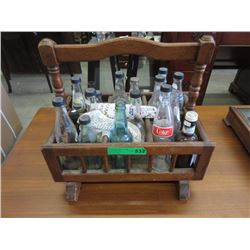 Wood Rack Containing Collectible Bottles
