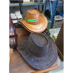 3 New Leather Like Cowboy Hats