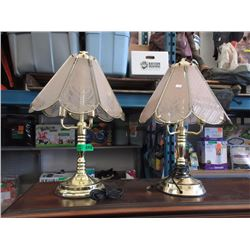 Pair of Brass Table Lamps with Glass Shades