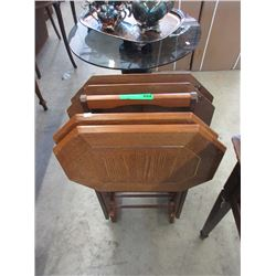 Set of 4 Wood TV Trays on Stand