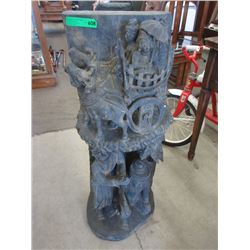 "36"" Tall Asian Wood Carving"