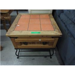 Tile Top Wood End Table with Drawer